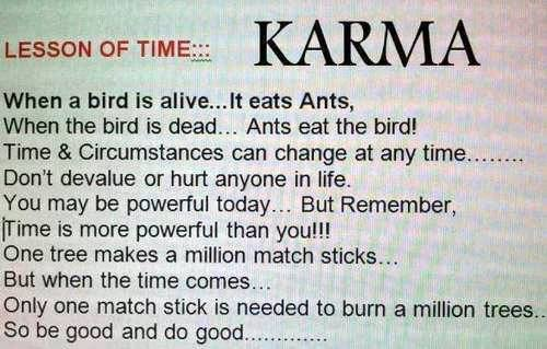 Lesson of time - Karma, So be good and do good